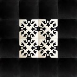 tapis carreaux de ciment noir et blanc motif