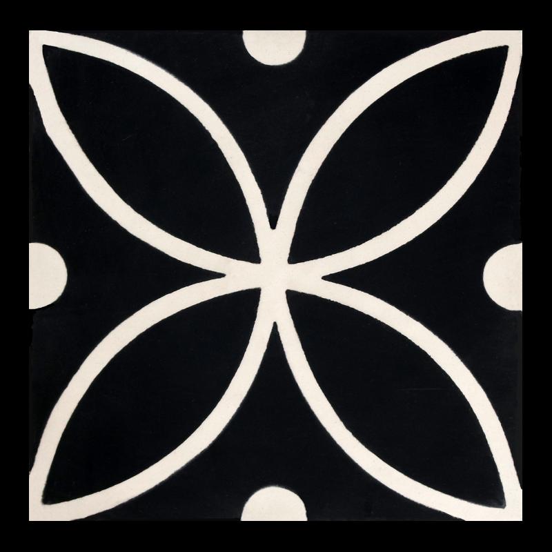carreaux de ciment noir et blanc motif rosace