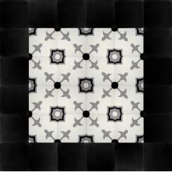 frise carreaux de ciment noir et blanc