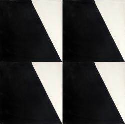 carreau de ciment noir et blanc motif asymétrique