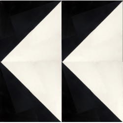 carreaux de ciment noir et blanc motif triangle